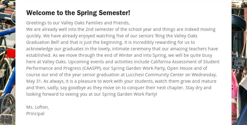 Welcome to the Spring Semester!