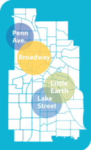 Map of focus areas for Collaborative Safety Strategies grant, showing Broadway, Penn Ave., Lake Street and Little Earth.