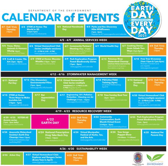 DoE Earth month calendar 2021