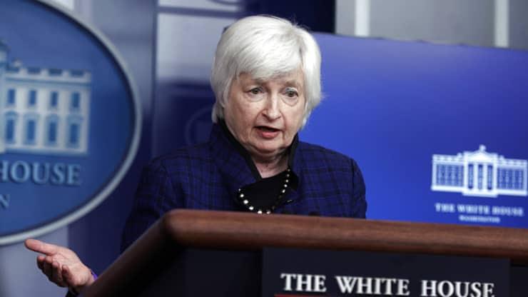 Treasury Secretary Janet Yellen speaks at a press conference