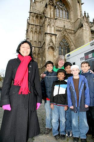 Professor the Baroness Haleh Afshar, left, who launched the York to Gaza by ambulance appeal at St Michael le Belfrey Church, with Heather Stroud who is going to Gaza, and children from York Mosque who raised money for the appeal