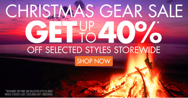 Christmas gear sale up to 40% off on selected styles storewide + free shipping Australia wide on orders over $99 at Wildearth.com.au