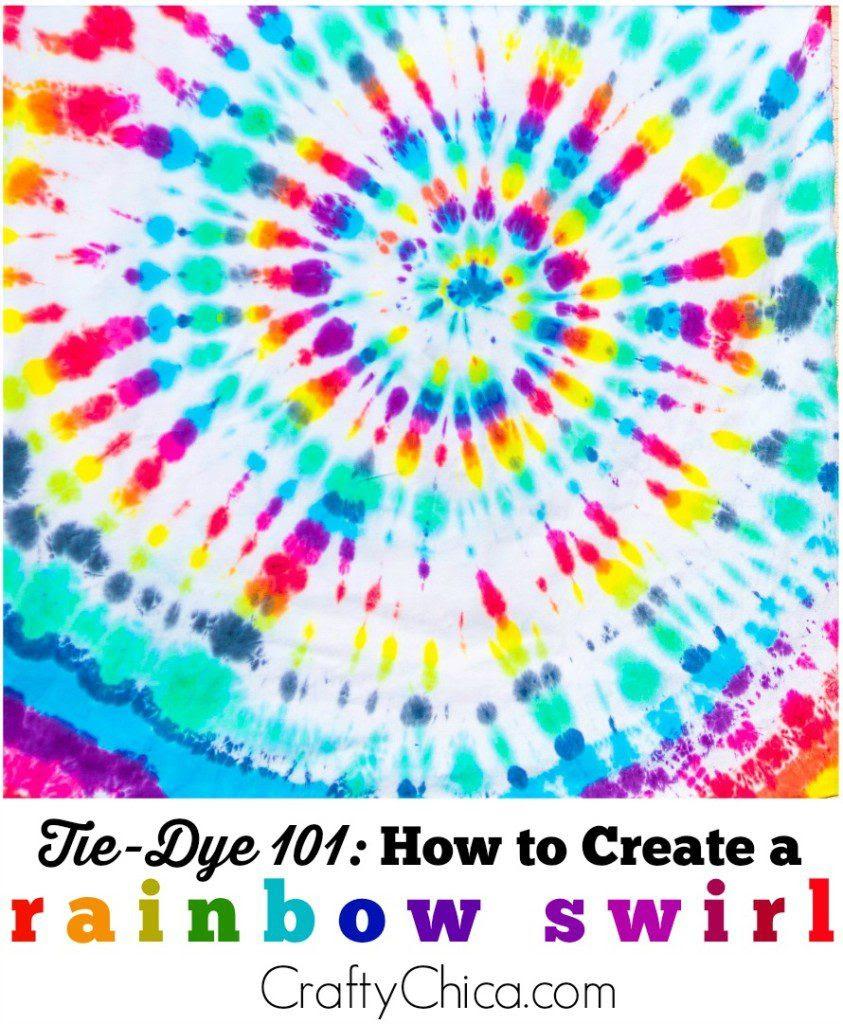 How to create a rainbow swirl on Craftychica.com #tiedye #tiedyerainbowswirl