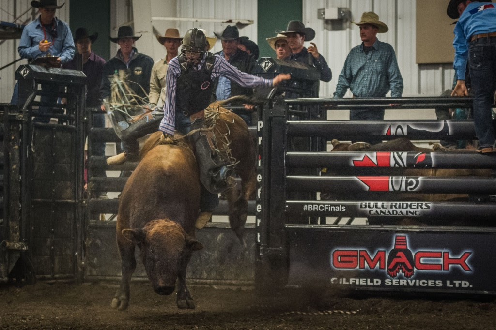 Action during the Wrangler Bull Riders Canada Finals III Presented by the Patchwork Group on October 2, 2015 at the Lloydminster Exhibition in Lloydminster, SK.