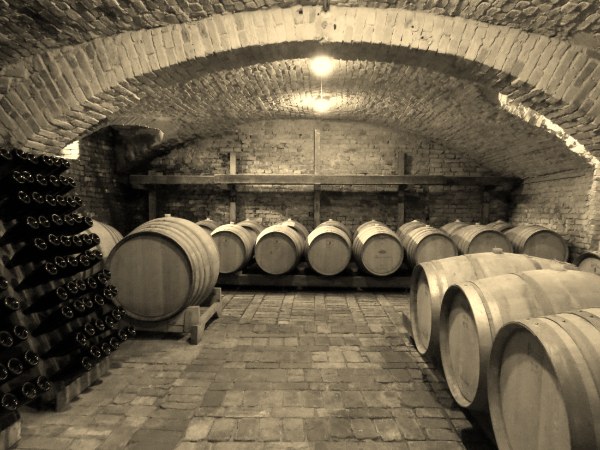 Photo of wine cellar showing barrels and bottles.