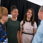 50th_Anniversary_of_the_Selma_Marches_-_Backstage,_former_President_Bush_talks_with_Sasha_and_Malia_Obama_and_Marian_Robinson