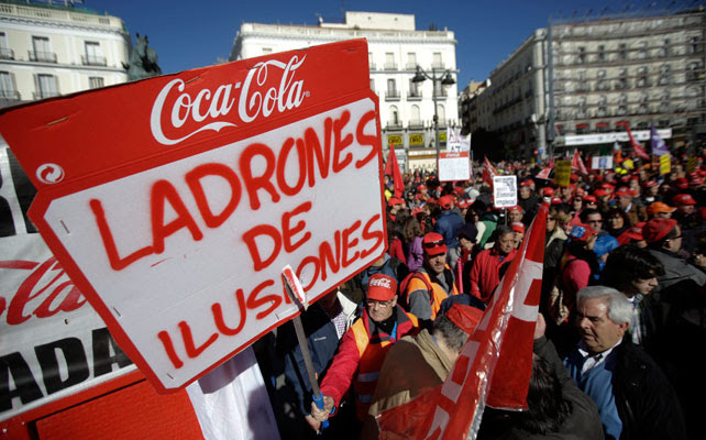Protesta en Madrid contra el cierre de Coca-Cola el pasado 2 de febrero.