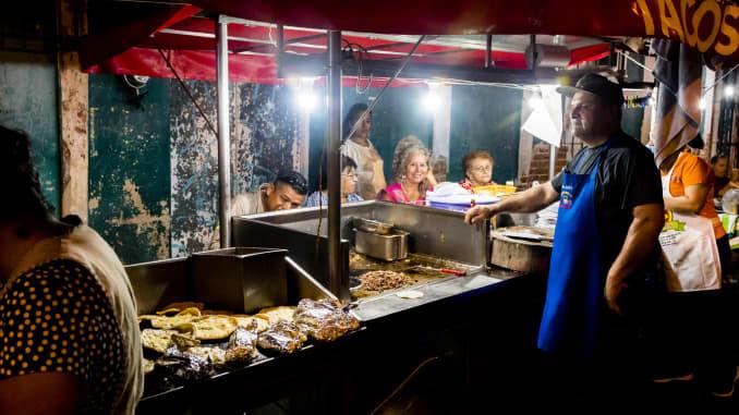 Barraca de comida familiar no México