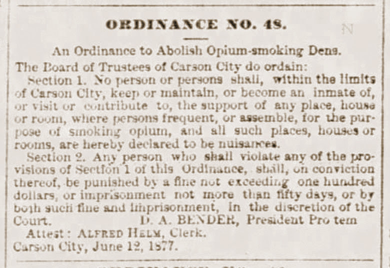 Opium ordinance - Carson City
