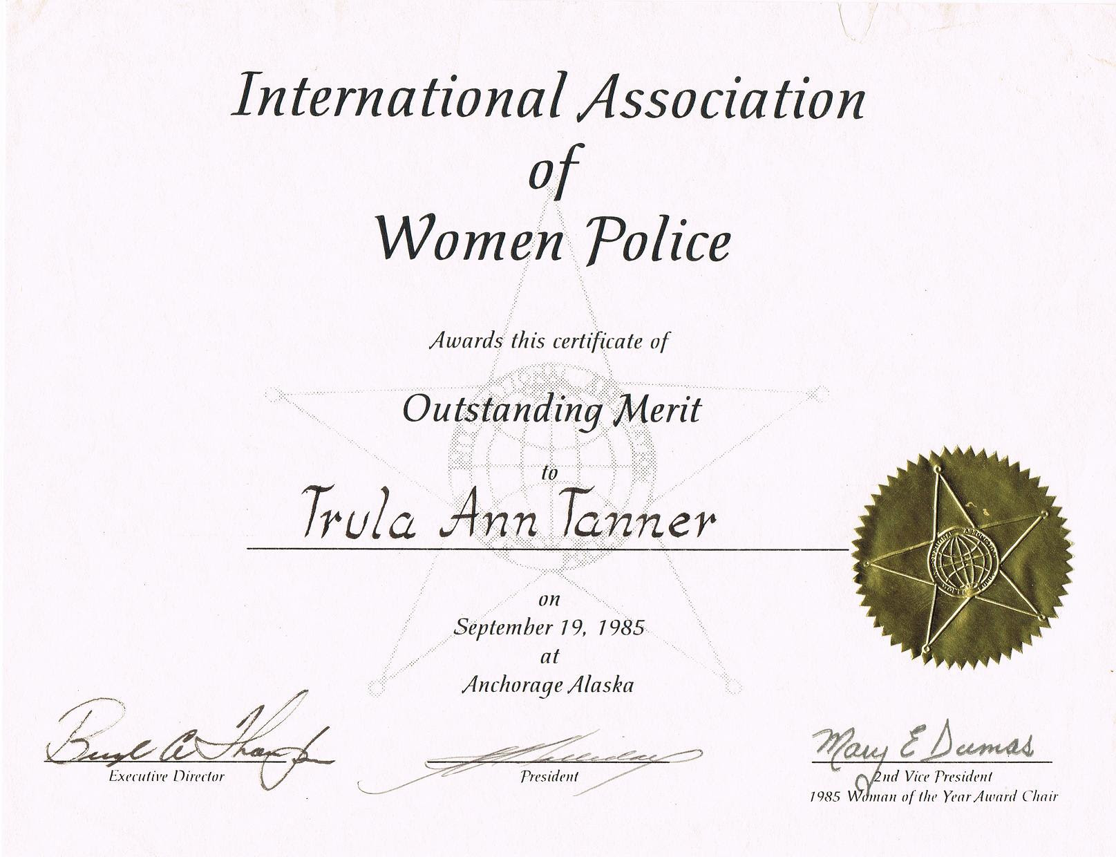 Trulas honor as a Police Officer as one of the top police women in America