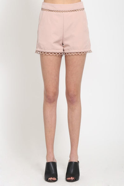 high waist shorts with circle loop cutouts and trim by Very J