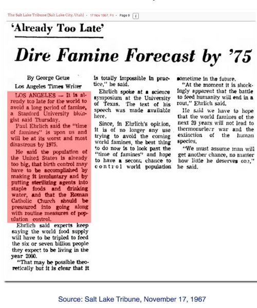 Newspaper clipping telling of famine in 1975