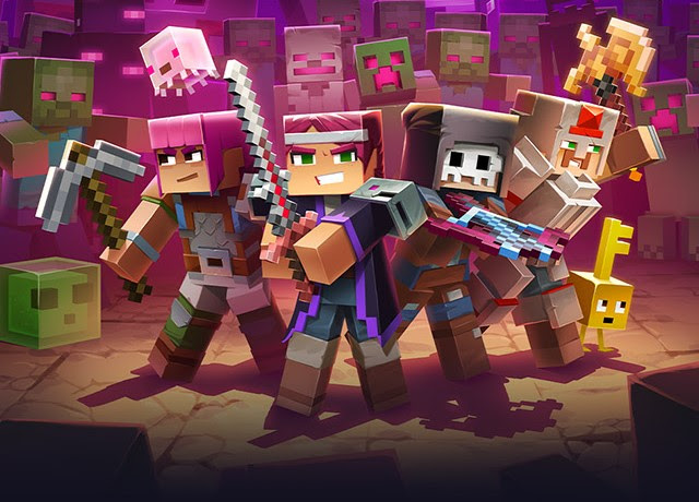 Key art for Minecraft Dungeons: Ultimate Edition featuring a party of Minecraft Dungeons characters surrounded by a massive mob of monsters.