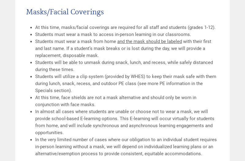 Masks/Facial Coverings