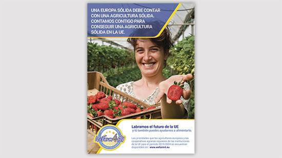 Uno de los cartel oficiales de la campaña WeFarm4EU.