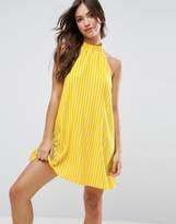 ASOS Halter Neck Swing Sundress in Stripe