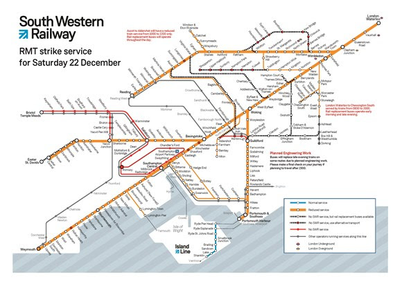 SWR service information for RMT strikes – Saturday 22, Thursday 27 and Monday 31 December