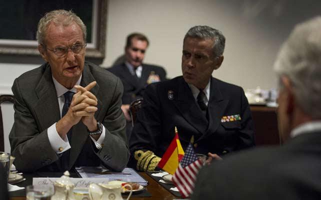 Pedro Morenés, ministro de Defensa, reunido con el secretario de Estado de Defensa estadounidense, Chuck Hagel, en el Pentágono (Wasington).