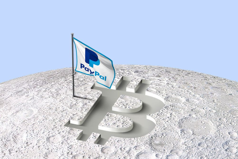A PayPal flug next to a Bitcoin symbol on the moon