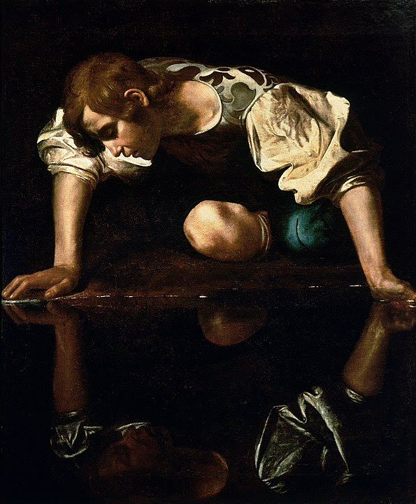 Narcissus by Caravaggio. A beautiful young man stares at his own reflection in a still pool of water.