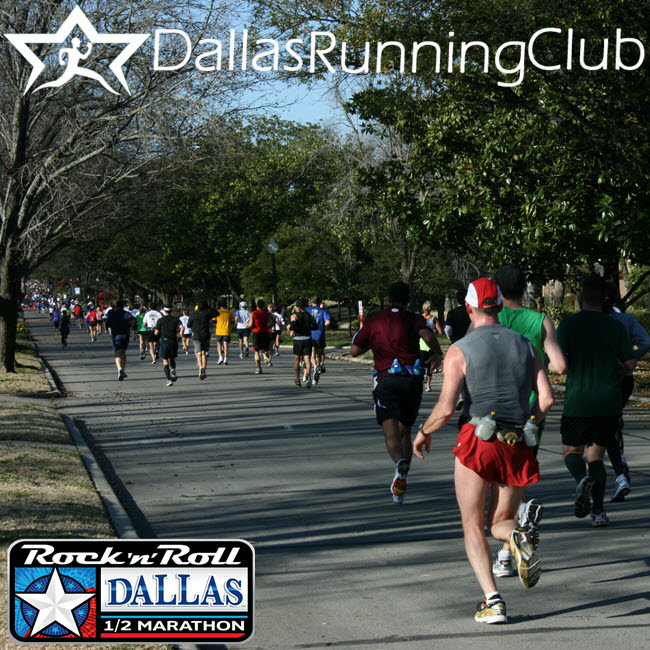 View from water station #5, mile 8.6, of the Rock 'n' Roll Dallas 1/2 Marathon