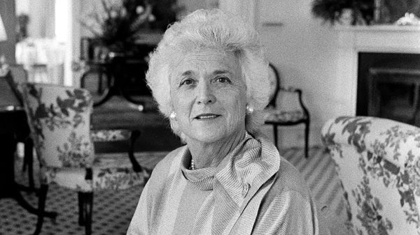 Barbara Bush in 1984. She was the widely admired wife of George Bush and the mother of George W. Bush.