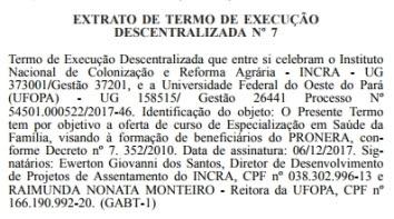 Documento que trata da parceria entre Incra e Ufopa é publicado no Diário Oficial da União