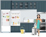 person standing next to refrigerator with bucket cleaning