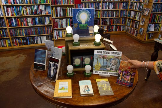 A display celebrating Banned Book Week at Poisoned Pen Bookstore, September 24, 2019.