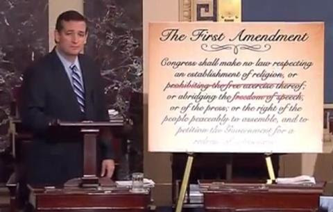 EPIC SPEECH: Ted Cruz vs. 49 Senate Democrats Who Voted to Repeal the First Amendment