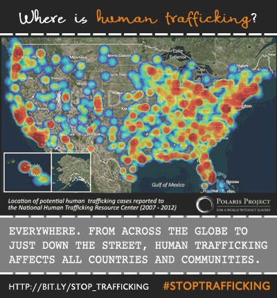Share on Monday: Where does human trafficking take place?