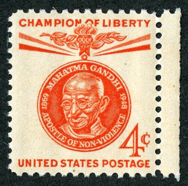 "Mahatma Gandhi ""Champion of Liberty"" stamp issued by the U.S. Postal Service on January 26, 1961. Courtesy of SAADA."