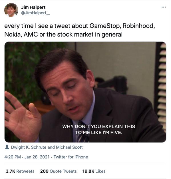 Tweet by Jim Halpert about stock market