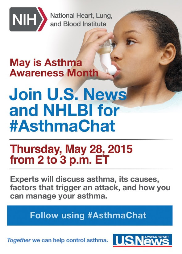 Invitation to participate in an asthma Twitter chat on May 28 at 2 pm ET with NHLBI and US News