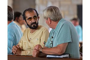 (L-R): Sheikh Mohammed  bin Rashid al Maktoum and agent Anthony Stroud at the Keeneland September Sale