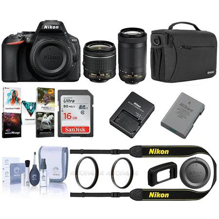 D5600 DSLR Camera Kit w/AFP DX 18-55mm f/3.5-5.6G VR & AFP DX 70-300/4.5-6.3G Lenses - Bun