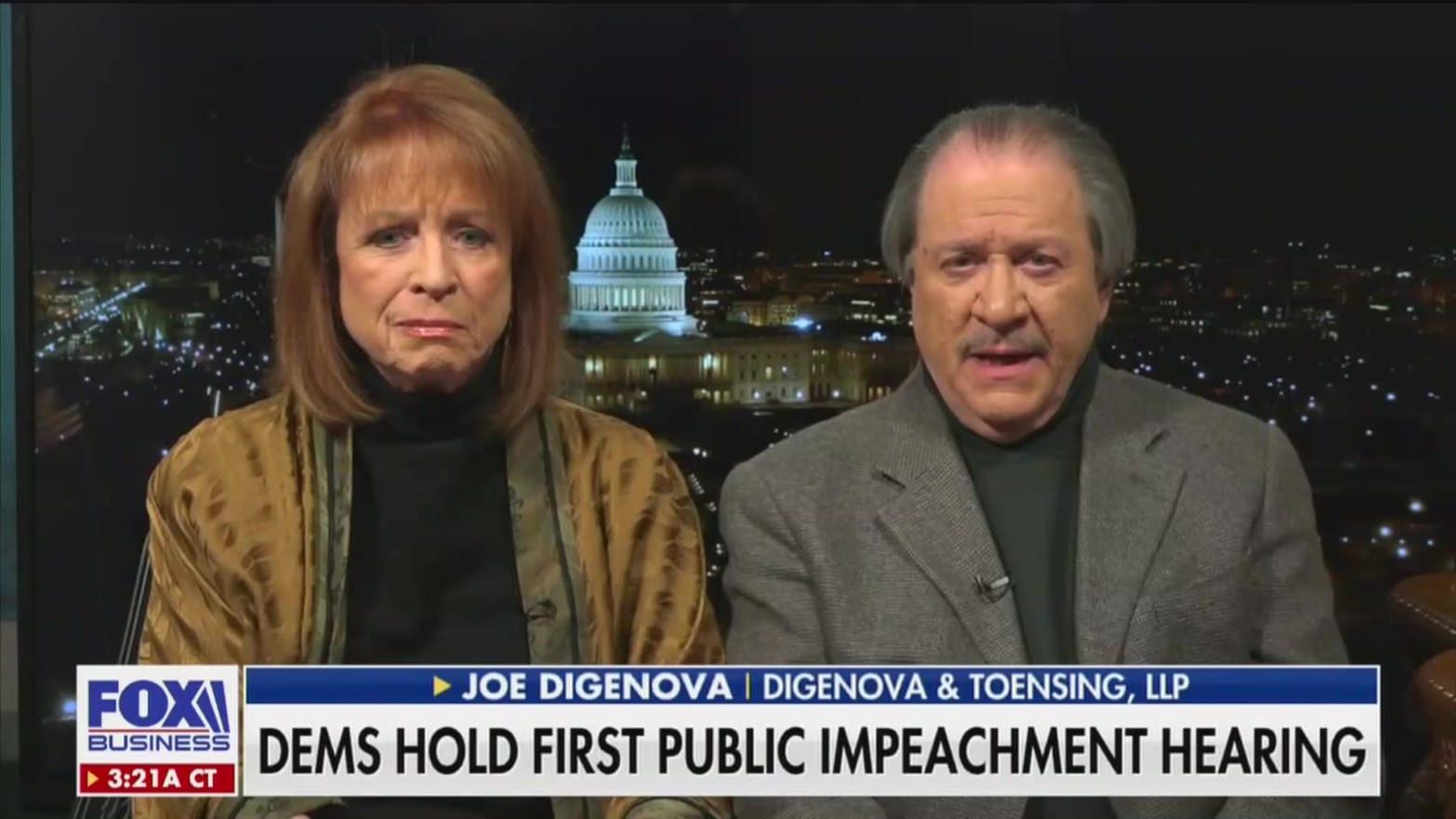 Luật sư Joe DiGenova và vợ ông, Victoria Toensing. (Ảnh chụp màn hình)