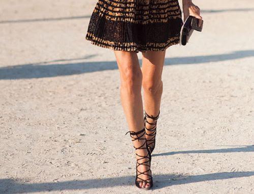 Azzedine Alaïa studded open lace up stilettos.