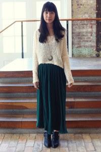 low flat boots long skirt