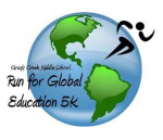 This is a logo with a person running across a globe