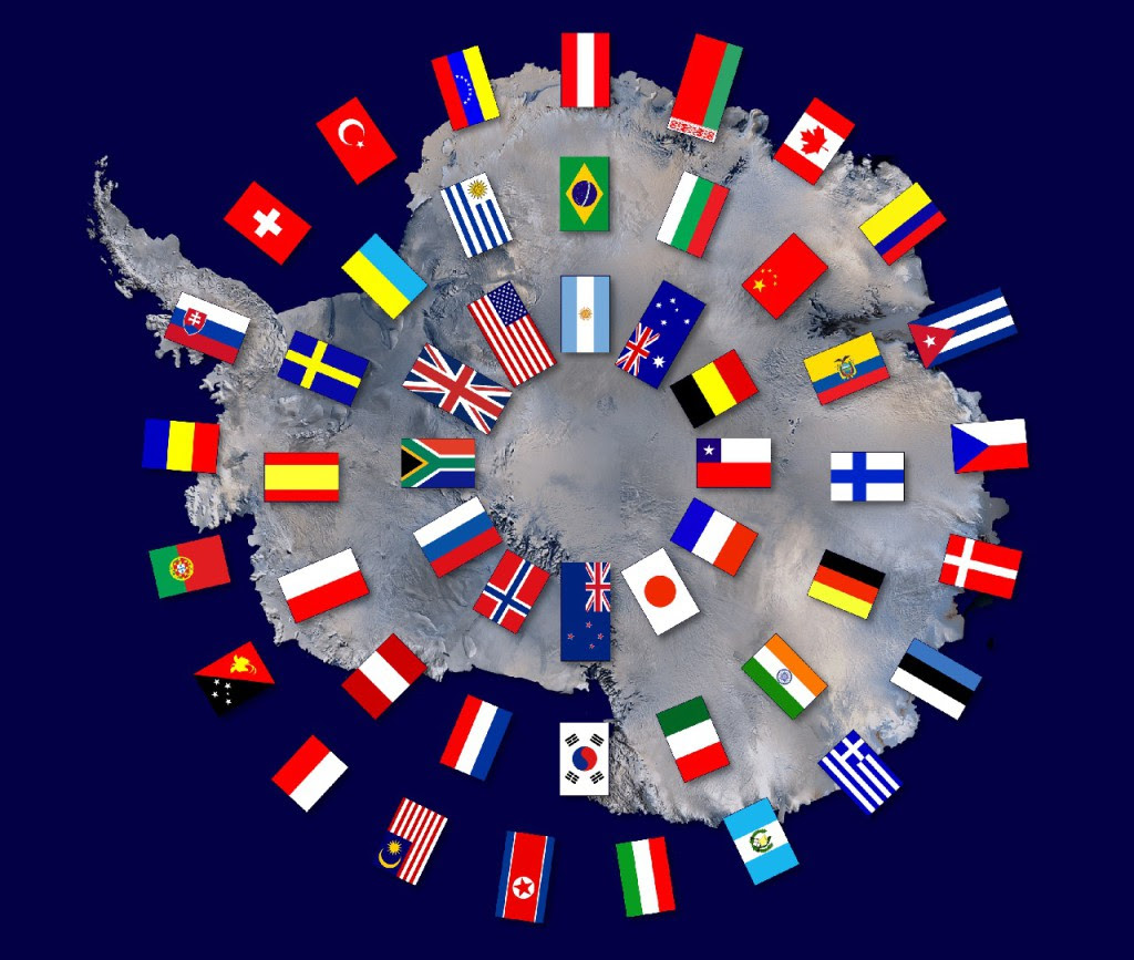 Map of Antarctica with the flags of the Antarctic Treay nations.