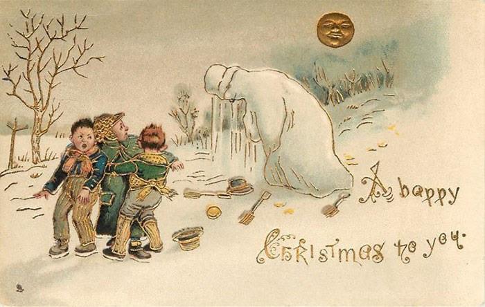 Những cậu bé trong tấm thiệp này không có vẻ gì là hạnh phúc khi chạm trán người Tuyết.