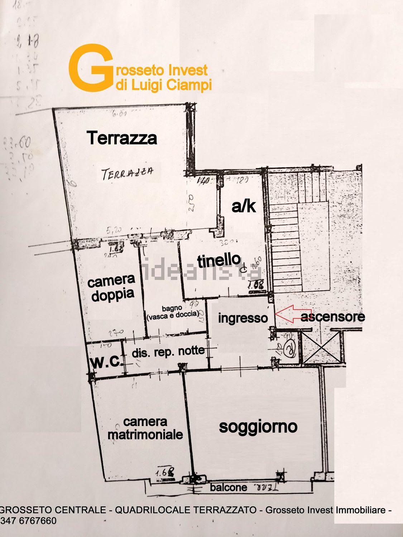 Grosseto Invest di Luigi Ciampi vendita appartamento Planimetria di Quadrilocale vendita via Depretis, 30, Centro, Grosseto