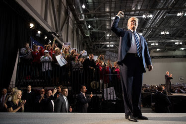 Donald J. Trump at his final campaign event in Grand Rapids, Mich., early Tuesday. The rally was a return to the base that lifted him to the Republican nomination.
