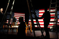 Workers set up the stage at the Landmark Theater ahead of a campaign event for Hillary Clinton in Port Washington, N.Y., in April.