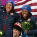 The Canadian gold medalists, Kaillie Humphries, second left, and Heather Moyse, center, celebrated with Elana Meyers, left, and Lauryn Williams, the silver medalists, and Jamie Greubel, right, and Aja Evans, the bronze medalists.