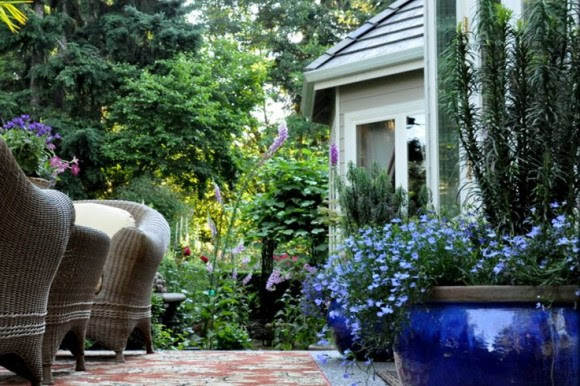 Patio with blue pots and flowers