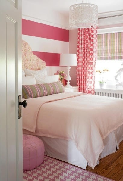 pink striped wall, doing this to Brooklyn's bathroom