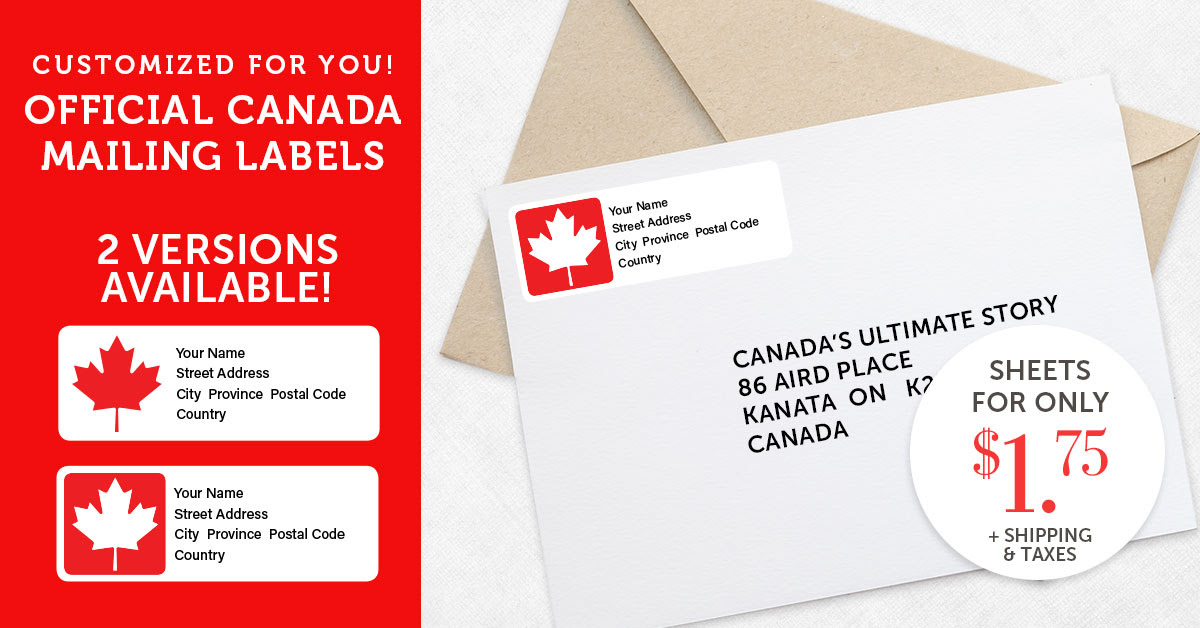 Official Canada Mailing Labels for $1.75