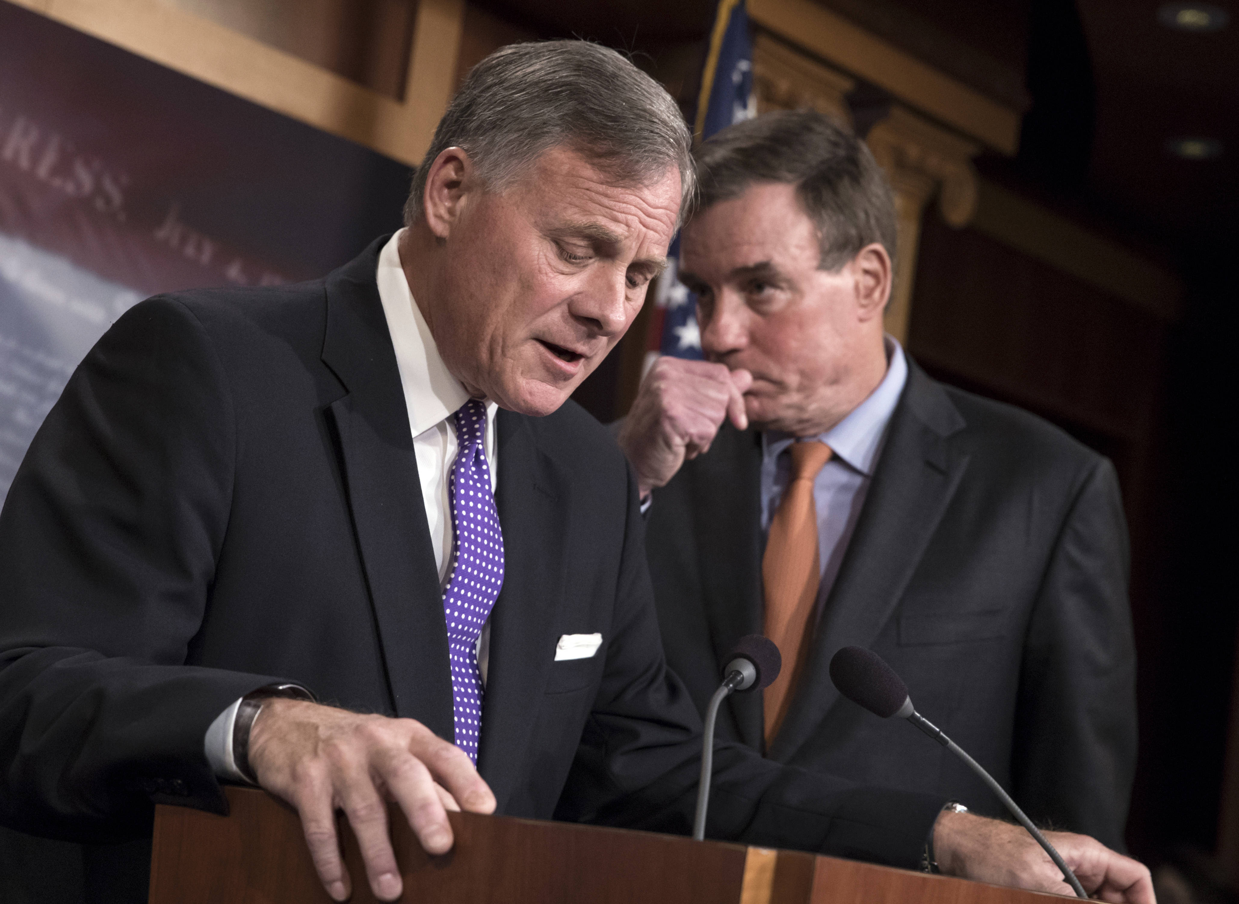 Senate Intelligence Committee Chairman Richard Burr (R-N.C.), and Vice Chairman Mark Warner (D-Va.) update reporters on their Russia probe.<span style=